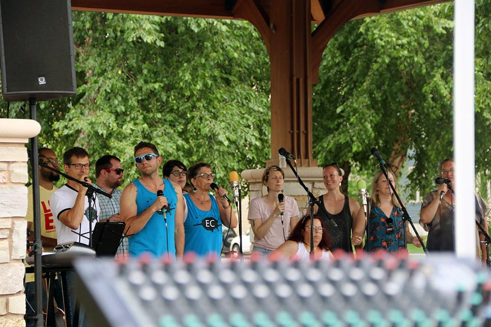 Our home town Hip Hop CollECtive Choir members performs its Backpack Day celebration at Phoenix Park in Eau Claire Wi